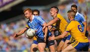 5 August 2018; Conor McHugh of Dublin in action against Roscommon players, left to right, David Murray, John McManus, and Darra Petitt during the GAA Football All-Ireland Senior Championship Quarter-Final Group 2 Phase 3 match between Dublin and Roscommon at Croke Park in Dublin. Photo by Daire Brennan/Sportsfile