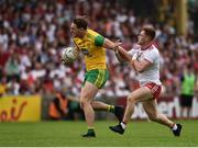 5 August 2018; Hugh McFadden of Donegal  in action against Conor Meyler of Tyrone during the GAA Football All-Ireland Senior Championship Quarter-Final Group 2 Phase 3 match between Tyrone and Donegal at MacCumhaill Park in Ballybofey, Co Donegal. Photo by Oliver McVeigh/Sportsfile