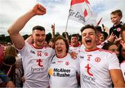 5 August 2018; Richard Donnelly, left, and Michael McKernan of Tyrone celebrate with supporter Carmel Kirk following the GAA Football All-Ireland Senior Championship Quarter-Final Group 2 Phase 3 match between Tyrone and Donegal at MacCumhaill Park in Ballybofey, Co Donegal. Photo by Stephen McCarthy/Sportsfile