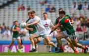5 August 2018; Jimmy Hyland of Kildare in action against Cathal Horan of Mayo during the EirGrid GAA Football All-Ireland U20 Championship final match between Mayo and Kildare at Croke Park in Dublin. Photo by Daire Brennan/Sportsfile
