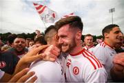 5 August 2018; Declan McClure, right, and Richard Donnelly of Tyrone celebrate following the GAA Football All-Ireland Senior Championship Quarter-Final Group 2 Phase 3 match between Tyrone and Donegal at MacCumhaill Park in Ballybofey, Co Donegal. Photo by Stephen McCarthy/Sportsfile