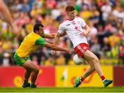 5 August 2018; Cathal McShane of Tyrone in action against Frank McGlynn of Donegal during the GAA Football All-Ireland Senior Championship Quarter-Final Group 2 Phase 3 match between Tyrone and Donegal at MacCumhaill Park in Ballybofey, Co Donegal. Photo by Stephen McCarthy/Sportsfile