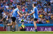 5 August 2018; Eoghan O'Gara of Dublin, left, celebrates scoring his side second goal with team-mate Paddy Andrews during the GAA Football All-Ireland Senior Championship Quarter-Final Group 2 Phase 3 match between Dublin and Roscommon at Croke Park in Dublin. Photo by Piaras Ó Mídheach/Sportsfile