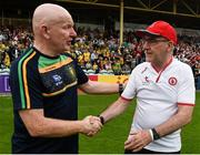 5 August 2018; Tyrone manager Mickey Harte shakes hands with Donegal manager Declan Bonner following bthe GAA Football All-Ireland Senior Championship Quarter-Final Group 2 Phase 3 match between Tyrone and Donegal at MacCumhaill Park in Ballybofey, Co Donegal. Photo by Philip Fitzpatrick/Sportsfile