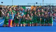 5 August 2018; The Ireland team celebrate with their silver medals after the Women's Hockey World Cup Final match between Ireland and Netherlands at the Lee Valley Hockey Centre in QE Olympic Park, London, England. Photo by Craig Mercer/Sportsfile