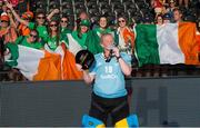 5 August 2018; Ayeisha McFerran of Ireland celebrates with her award for best goalkeeper of the tournament after the Women's Hockey World Cup Final match between Ireland and Netherlands at the Lee Valley Hockey Centre in QE Olympic Park, London, England. Photo by Craig Mercer/Sportsfile