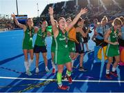 5 August 2018; Zoe Wilson of Ireland celebrates their silver medal with teammates after the Women's Hockey World Cup Final match between Ireland and Netherlands at the Lee Valley Hockey Centre in QE Olympic Park, London, England. Photo by Craig Mercer/Sportsfile
