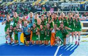 5 August 2018;  The Ireland team celebrate with their medals after the Women's Hockey World Cup Final match between Ireland and Netherlands at the Lee Valley Hockey Centre in QE Olympic Park, London, England. Photo by Craig Mercer/Sportsfile