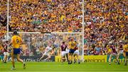5 August 2018; Peter Duggan of Clare, 10,  shoots past James Skehill of Galway in goal for Clare's second goal in the 54th minute of the GAA Hurling All-Ireland Senior Championship semi-final replay match between Galway and Clare at Semple Stadium in Thurles, Co Tipperary. Photo by Ray McManus/Sportsfile