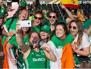 5 August 2018; Kathryn Mullan of Ireland celebrates by taking a selfie with friends and family after the Women's Hockey World Cup Final match between Ireland and Netherlands at the Lee Valley Hockey Centre in QE Olympic Park, London, England. Photo by Craig Mercer/Sportsfile