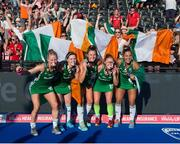 5 August 2018; Ireland players, from left, Nicola Daly, Roisin Upton, Deirdre Duke, Zoe Wilson and Elena Tice celebrate with their silver medals after the Women's Hockey World Cup Final match between Ireland and Netherlands at the Lee Valley Hockey Centre in QE Olympic Park, London, England. Photo by Craig Mercer/Sportsfile