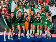 5 August 2018; Ireland players, from left, Yvonne O'Byrne, Nicola Daly, Roisin Upton, Deirdre Duke, Zoe Wilson, Elena Tice, and Lizzie Colvin celebrate with their silver medals after the Women's Hockey World Cup Final match between Ireland and Netherlands at the Lee Valley Hockey Centre in QE Olympic Park, London, England. Photo by Craig Mercer/Sportsfile