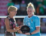 5 August 2018; Ayeisha McFerran of Ireland receives her award for the tournament's best goalkeeper after the Women's Hockey World Cup Final match between Ireland and Netherlands at the Lee Valley Hockey Centre in QE Olympic Park, London, England. Photo by Craig Mercer/Sportsfile