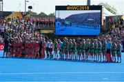 5 August 2018; The teams line up for the anthems during the Women's Hockey World Cup Final match between Ireland and Netherlands at the Lee Valley Hockey Centre in QE Olympic Park, London, England. Photo by Craig Mercer/Sportsfile