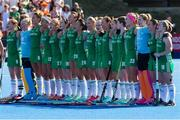 5 August 2018; The Ireland team sing the national anthem during the Women's Hockey World Cup Final match between Ireland and Netherlands at the Lee Valley Hockey Centre in QE Olympic Park, London, England. Photo by Craig Mercer/Sportsfile