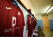 6 August 2018; A detailed view of the Cobh Ramblers jersey in the dressing room prior to the EA Sports Cup semi-final match between Cobh Ramblers and Dundalk at St. Colman's Park in Cobh, Co. Cork. Photo by Ben McShane/Sportsfile