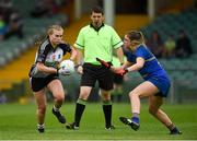 6 August 2018; Denise McGrath of Sligo in action against Niamh McGettigan of Wicklow, under the watchful eye of referee Eamonn Moran during the TG4 All-Ireland Ladies Football Intermediate Championship quarter-final match between Sligo and Wicklow at the Gaelic Grounds in Limerick. Photo by Diarmuid Greene/Sportsfile