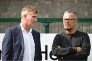 6 August 2018; Dundalk manager Stephen Kenny, left, with Cobh Ramblers manager Stephen Henderson prior to the EA Sports Cup semi-final match between Cobh Ramblers and Dundalk at St. Colman's Park in Cobh, Co. Cork. Photo by Ben McShane/Sportsfile