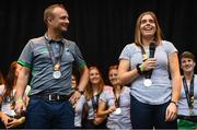 6 August 2018; Ireland captain Katie Mullan and head coach Graham Shaw during their homecoming at Dame Street in Dublin after finishing second in the Women's Hockey World Cup in London, England. Photo by Ramsey Cardy/Sportsfile