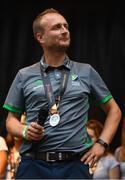 6 August 2018; Ireland head coach Graham Shaw during their homecoming at Dame Street in Dublin after finishing second in the Women's Hockey World Cup in London, England. Photo by Ramsey Cardy/Sportsfile