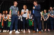 6 August 2018; Ireland captain Katie Mullan and head coach Graham Shaw with MC Des Cahill during their homecoming at Dame Street in Dublin after finishing second in the Women's Hockey World Cup in London, England. Photo by Ramsey Cardy/Sportsfile