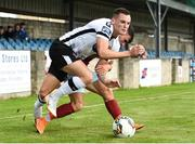 6 August 2018; Dylan Connolly of Dundalk is fouled by Kevin Taylor of Cobh Ramblers during the EA Sports Cup semi-final match between Cobh Ramblers and Dundalk at St. Colman's Park in Cobh, Co. Cork. Photo by Ben McShane/Sportsfile
