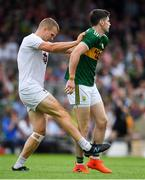 4 August 2018; Peter Kelly of Kildare with Paul Geaney of Kerry during the GAA Football All-Ireland Senior Championship Quarter-Final Group 1 Phase 3 match between Kerry and Kildare at Fitzgerald Stadium in Killarney, Kerry. Photo by Brendan Moran/Sportsfile