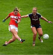 6 August 2018; Saoirse Noonan of Cork scores a goal despite the efforts of Jennifer Rogers of Westmeath during the TG4 All-Ireland Ladies Football Senior Championship quarter-final match between Cork and Westmeath at the Gaelic Grounds in Limerick. Photo by Diarmuid Greene/Sportsfile