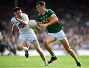 4 August 2018; David Clifford of Kerry in action against David Hyland of Kildare during the GAA Football All-Ireland Senior Championship Quarter-Final Group 1 Phase 3 match between Kerry and Kildare at Fitzgerald Stadium in Killarney, Kerry. Photo by Brendan Moran/Sportsfile