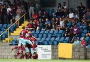6 August 2018; Cobh Ramblers players celebrate their side's first goal scored by Chris Hull during the EA Sports Cup semi-final match between Cobh Ramblers and Dundalk at St. Colman's Park in Cobh, Co. Cork. Photo by Ben McShane/Sportsfile