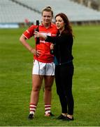 6 August 2018; Saoirse Noonan of Cork is interviewed by Máire Treasa Ní Cheallaigh for OffTheBall.com after the TG4 All-Ireland Ladies Football Senior Championship quarter-final match between Cork and Westmeath at the Gaelic Grounds in Limerick. Photo by Diarmuid Greene/Sportsfile