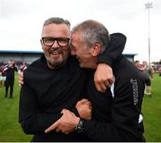 6 August 2018; Cobh Ramblers manager Stephen Henderson, left, celebrates with Cobh Ramblers assistant manager Stuart Ashton following the EA Sports Cup semi-final match between Cobh Ramblers and Dundalk at St. Colman's Park in Cobh, Co. Cork. Photo by Ben McShane/Sportsfile