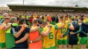 5 August 2018; Donegal manager Declan Bonner talking to his players before the GAA Football All-Ireland Senior Championship Quarter-Final Group 2 Phase 3 match between Tyrone and Donegal at MacCumhaill Park in Ballybofey, Co Donegal. Photo by Oliver McVeigh/Sportsfile