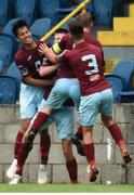 6 August 2018; Cobh Ramblers players, from left, Denzil Fernandez, Chris Hull, Shane O'Connor and Kevin Taylor celebrate after their side's first goal scored by Chris Hull during the EA Sports Cup semi-final match between Cobh Ramblers and Dundalk at St. Colman's Park in Cobh, Co. Cork. Photo by Ben McShane/Sportsfile
