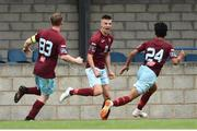 6 August 2018; Chris Hull of Cobh Ramblers celebrates after scoring his side's first goal with teammates Shane O'Connor, left, and Denzil Fernandez during the EA Sports Cup semi-final match between Cobh Ramblers and Dundalk at St. Colman's Park in Cobh, Co. Cork. Photo by Ben McShane/Sportsfile