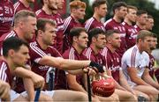 5 August 2018; Johnny Coen of Galway sits in the centre of the team photograph prior to the GAA Hurling All-Ireland Senior Championship semi-final replay match between Galway and Clare at Semple Stadium in Thurles, Co Tipperary. Photo by Brendan Moran/Sportsfile