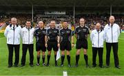 5 August 2018; Referee Fergal Horgan with his match officials, including linesmen Diarmuid Kirwan and Johnny Murphy, sideline official Nathan Wall and umpires Sean Bradshaw, Mickey Butler, Alan Horgan and John Ryan, prior to the GAA Hurling All-Ireland Senior Championship semi-final replay match between Galway and Clare at Semple Stadium in Thurles, Co Tipperary. Photo by Brendan Moran/Sportsfile