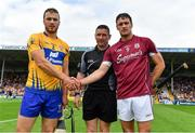 5 August 2018; Team captains Patrick O'Connor of Clare, left, and David Burke of Galway with referee Fergal Horgan prior to the GAA Hurling All-Ireland Senior Championship semi-final replay match between Galway and Clare at Semple Stadium in Thurles, Co Tipperary. Photo by Brendan Moran/Sportsfile
