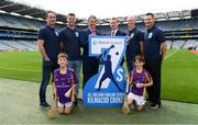 7 August 2018; The Beacon Hospital All-Ireland Hurling Sevens, organised by Kilmacud Crokes GAA Club and kindly sponsored this year, for the first time, by Beacon Hospital was officially launched in Croke Park. Pictured at the launch are, from left, Ryan O'Dwyer, Bill O'Carroll,Mark Lohan, Chairman, Hurling 7s Committee Chairman, Brian Fitzgerald, Deputy CEO, Beacon Hospital, Fergal Whitely and Niall Corcoran, with Under 10 Kilmacud Crokes hurlers Michael Lyng, left, and Cian Manning. Photo by Ramsey Cardy/Sportsfile