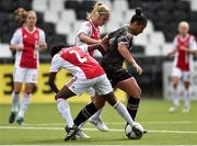 7 August 2018; Rianna Jarrett of Wexford Youths in action against Liza van der Most, left, and Kelly Zeeman of Ajax during the UEFA Women's Champions League Qualifier match between Ajax and Wexford Youths at Seaview in Belfast, Antrim. Photo by Oliver McVeigh/Sportsfile