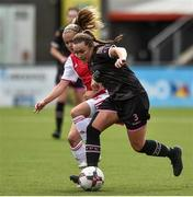 7 August 2018; Orlaith Conlon of Wexford Youths in action against Iina Salmi of Ajax during the UEFA Women's Champions League Qualifier match between Ajax and Wexford Youths at Seaview in Belfast, Antrim. Photo by Oliver McVeigh/Sportsfile