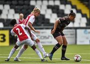 7 August 2018; Rianna Jarrett of Wexford Youths in action against Liza van der Most and Kelly Zeeman of Ajax during the UEFA Women's Champions League Qualifier match between Ajax and Wexford Youths at Seaview in Belfast, Antrim. Photo by Oliver McVeigh/Sportsfile