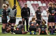 7 August 2018; Wexford Youths Head Coach Tom Elmes speaks with his players after the UEFA Women's Champions League Qualifier match between Ajax and Wexford Youths at Seaview in Belfast, Antrim. Photo by Oliver McVeigh/Sportsfile