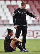 7 August 2018; A dejected Rianna Jarrett of Wexford Youths with Head Coach Tom Elmes after the UEFA Women's Champions League Qualifier match between Ajax and Wexford Youths at Seaview in Belfast, Antrim. Photo by Oliver McVeigh/Sportsfile