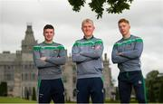 8 August 2018; Limerick manager John Kiely along with Declan Hannon, left, and Cian Lynch, right, pose for a portrait during a Limerick Hurling Press Conference at the Adare Manor Hotel and Golf Resort in Limerick ahead of the GAA Hurling All-Ireland Senior Championship Final. Photo by Diarmuid Greene/Sportsfile