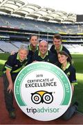 8 August 2018; The GAA Museum All-Stars! Tour guides at the GAA Museum celebrate as they receive the much coveted TripAdvisor Certificate of Excellence 'Hall of Fame' award. This impressive accolade is only given to attractions that consistently achieve great traveller reviews and earn a Certificate of Excellence for an incredible 5 years in a row! Pictured are, from left, Aran O'Reilly, Lauren Burke, Cian Nolan, Eoin O'Connor and Ailis Corey at Croke Park in Dublin. Photo by Ray McManus/Sportsfile