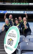 8 August 2018; The GAA Museum All-Stars! Tour guides at the GAA Museum celebrate as they receive the much coveted TripAdvisor Certificate of Excellence 'Hall of Fame' award. This impressive accolade is only given to attractions that consistently achieve great traveller reviews and earn a Certificate of Excellence for an incredible 5 years in a row! Pictured are Aran O'Reilly, Cian Nolan, Ailis Corey, Eoin O'Connor and Lauren Burke at Croke Park in Dublin. Photo by Ray McManus/Sportsfile