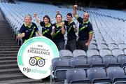 8 August 2018; The GAA Museum All-Stars! Tour guides at the GAA Museum celebrate as they receive the much coveted TripAdvisor Certificate of Excellence 'Hall of Fame' award. This impressive accolade is only given to attractions that consistently achieve great traveller reviews and earn a Certificate of Excellence for an incredible 5 years in a row! Pictured are, from left, Aran O'Reilly, Ailis Corey, Lauren Burke, Eoin O'Connor and Cian Nolan at Croke Park in Dublin. Photo by Ray McManus/Sportsfile