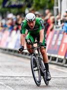8 August 2018; Ryan Mullen of Ireland competing in the Men's Time Trial during day seven of the 2018 European Championships in Glasgow City Centre, Scotland. Photo by David Fitzgerald/Sportsfile