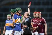 8 August 2018; Cian Salmon of Galway is shown a straight red card by referee Sean Cleere during the Bord Gais Energy GAA Hurling All-Ireland U21 Championship Semi-Final match between Galway and Tipperary at the Gaelic Grounds in Limerick. Photo by Diarmuid Greene/Sportsfile